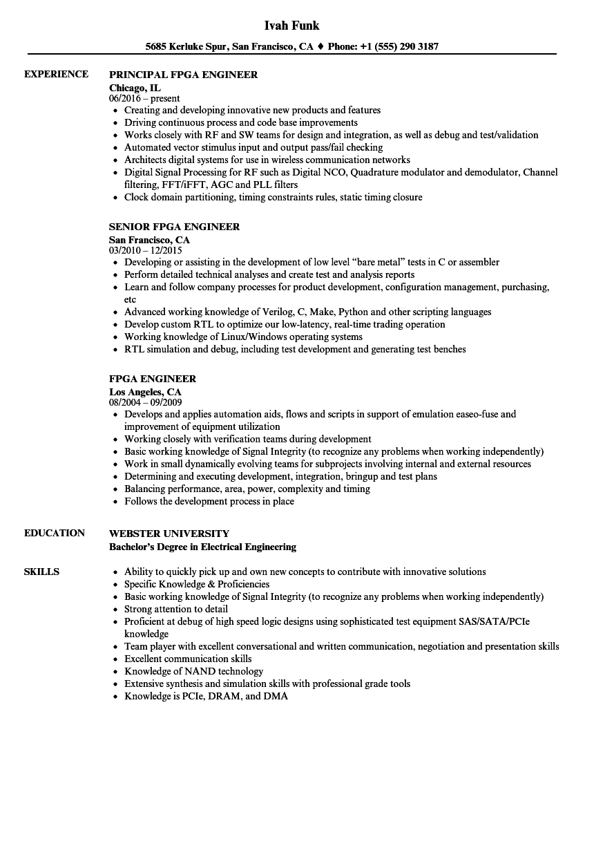 fpga engineer resume samples velvet jobs