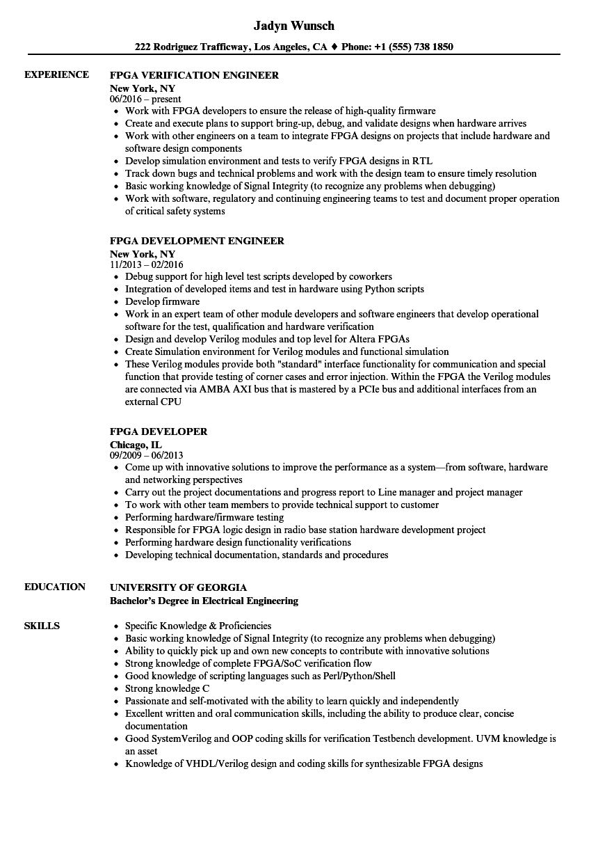 Fpga Resume Samples Velvet Jobs