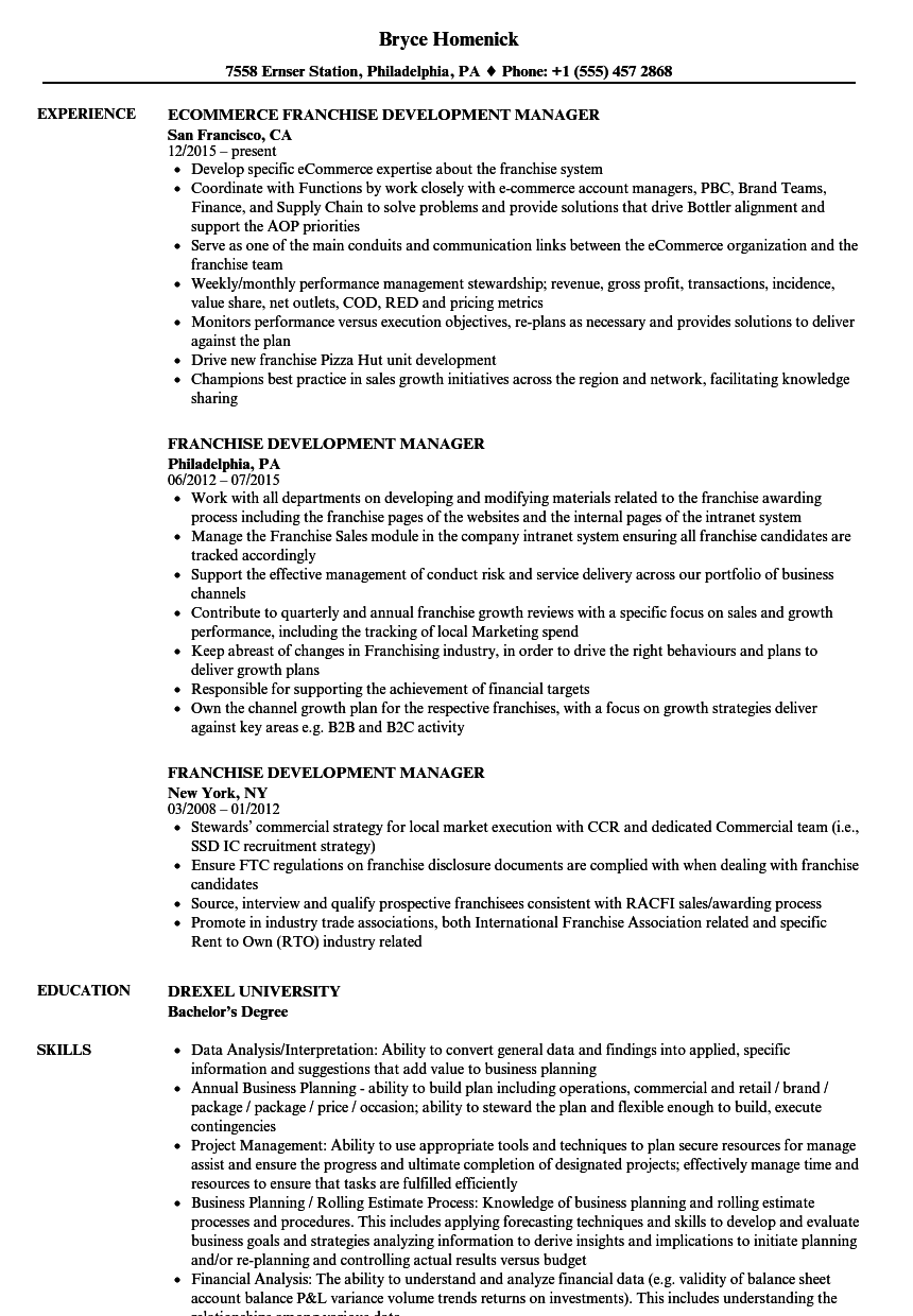 Franchise Development Manager Resume Samples | Velvet Jobs