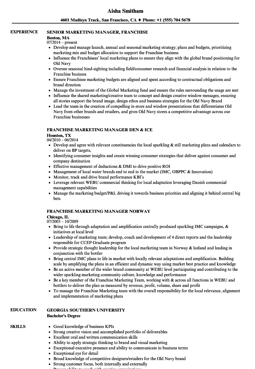 franchise marketing manager resume samples velvet jobs