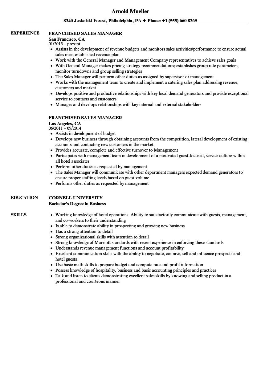 Franchised Sales Manager Resume Samples | Velvet Jobs