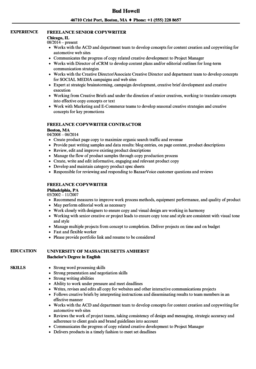 Freelance Copywriter Resume Samples Velvet Jobs