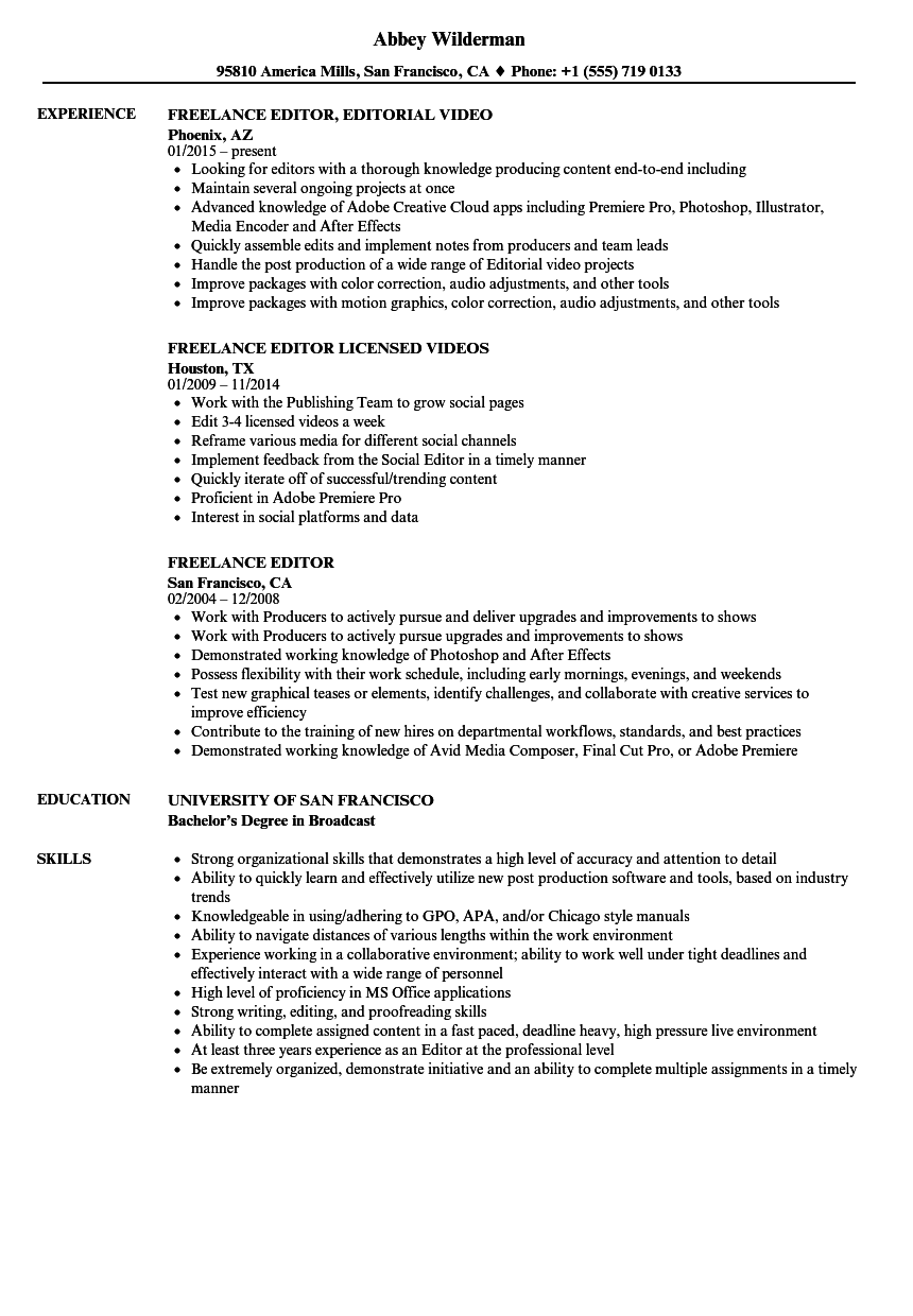 Freelance Editor Resume Samples | Velvet Jobs