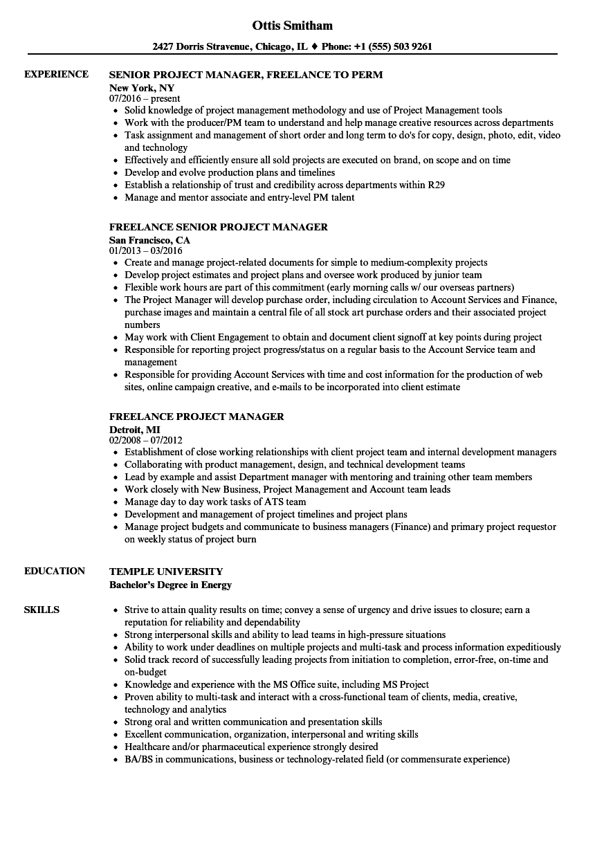 Freelance Project Manager Resume Samples Velvet Jobs