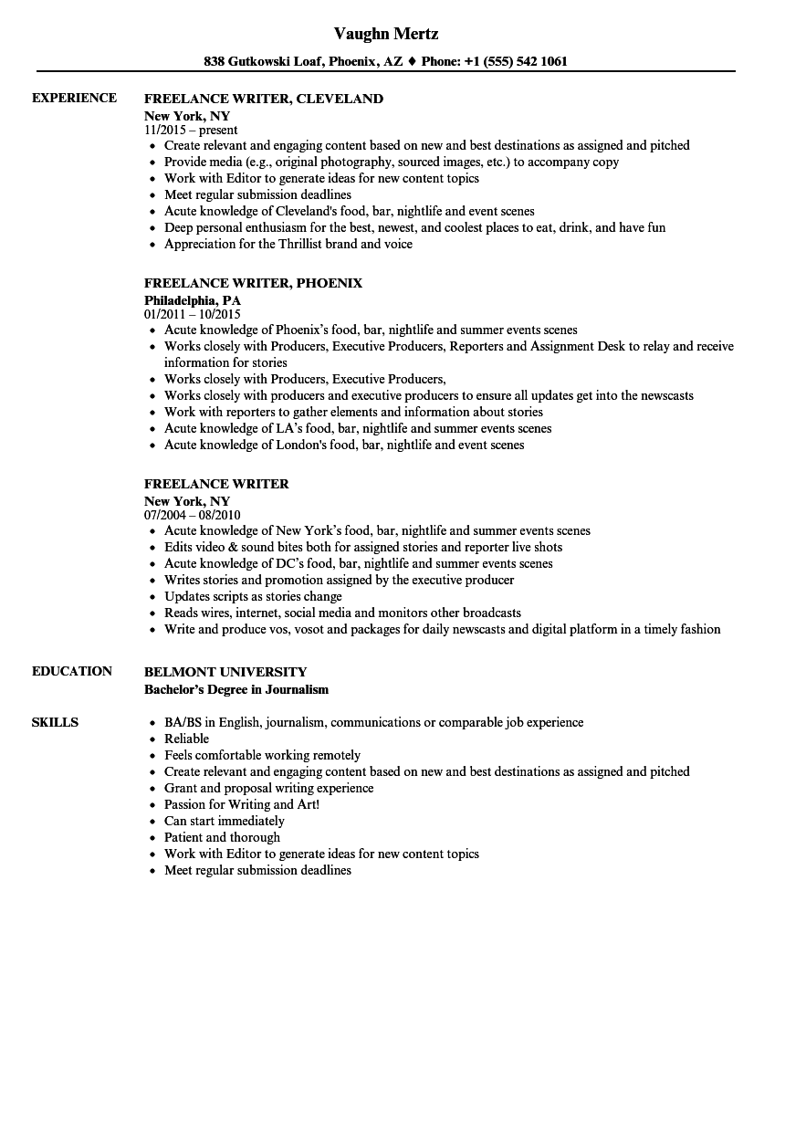 Related Job Titles. Writer Resume Sample  Resume Job Experience
