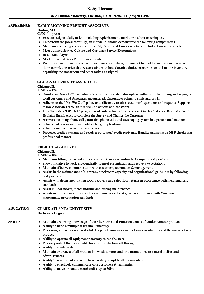freight associate resume samples