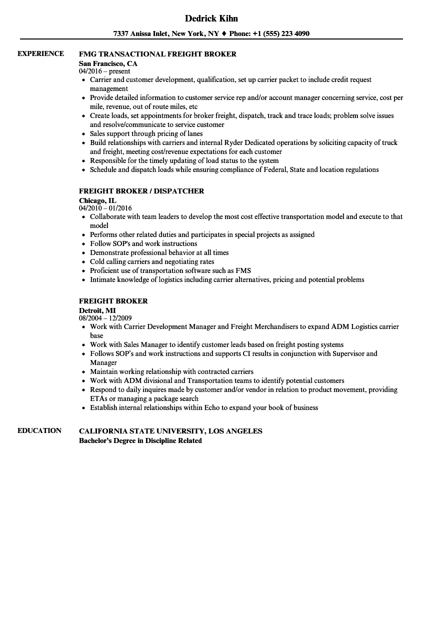 Freight Broker Resume Samples Velvet Jobs