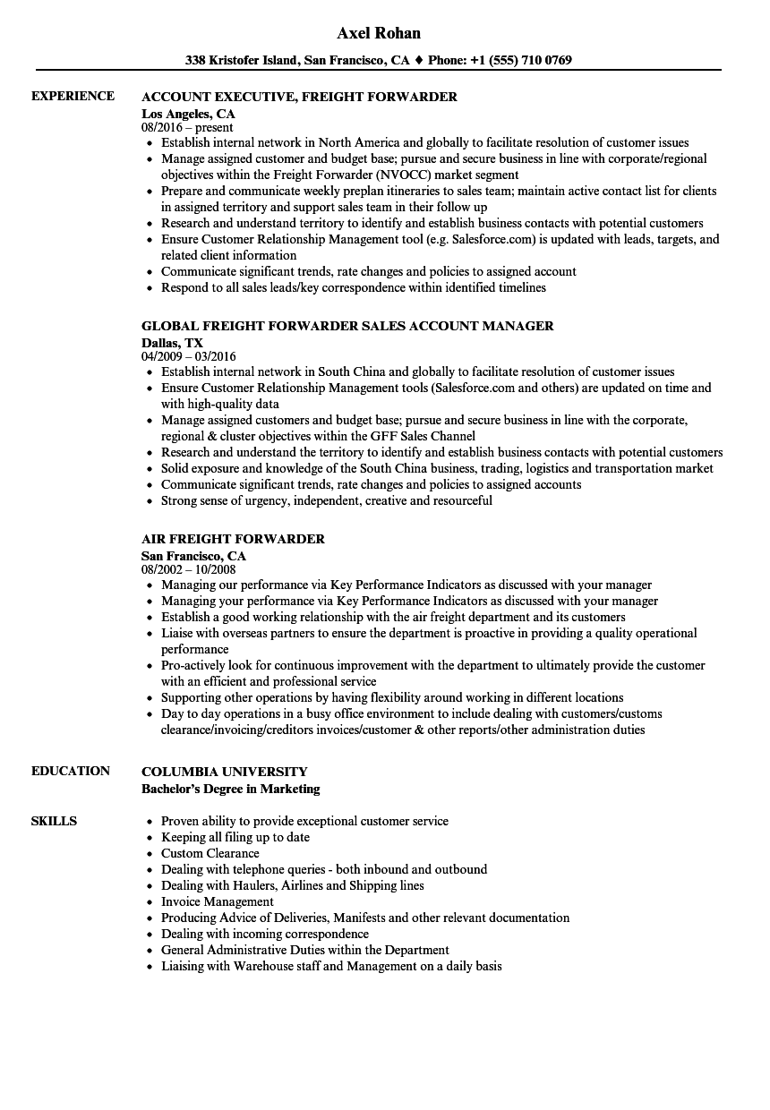 Freight Forwarder Resume Samples Velvet Jobs
