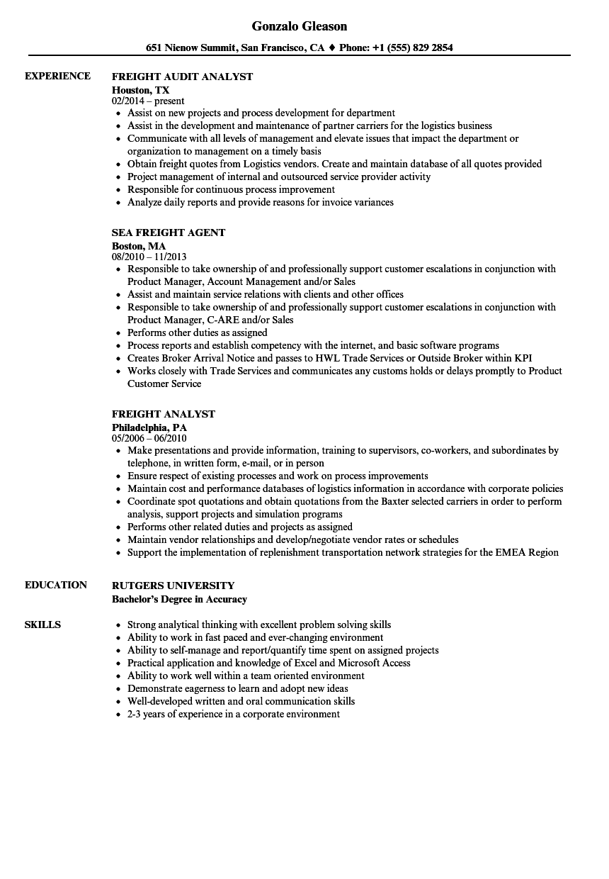 download freight resume sample as image file