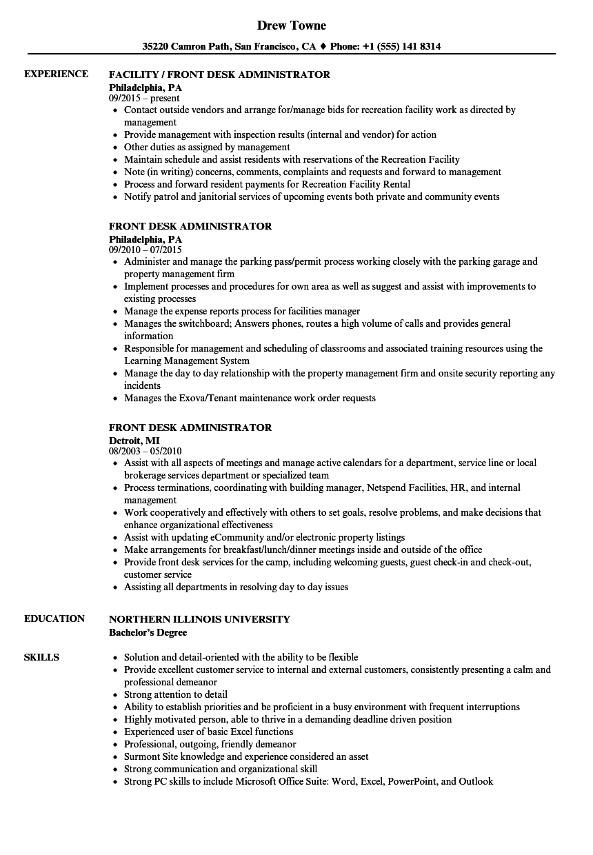 front desk administrator resume samples