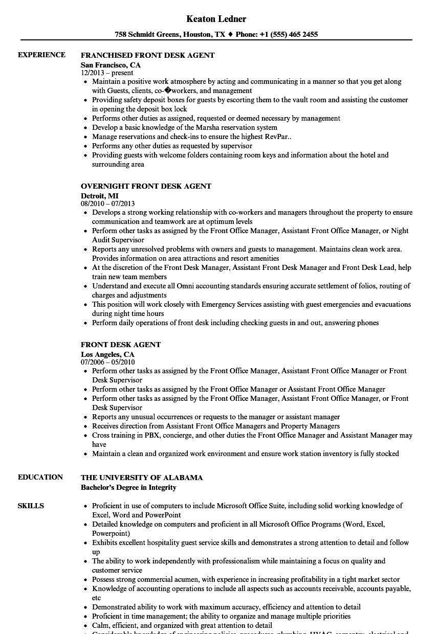 download front desk agent resume sample as image file