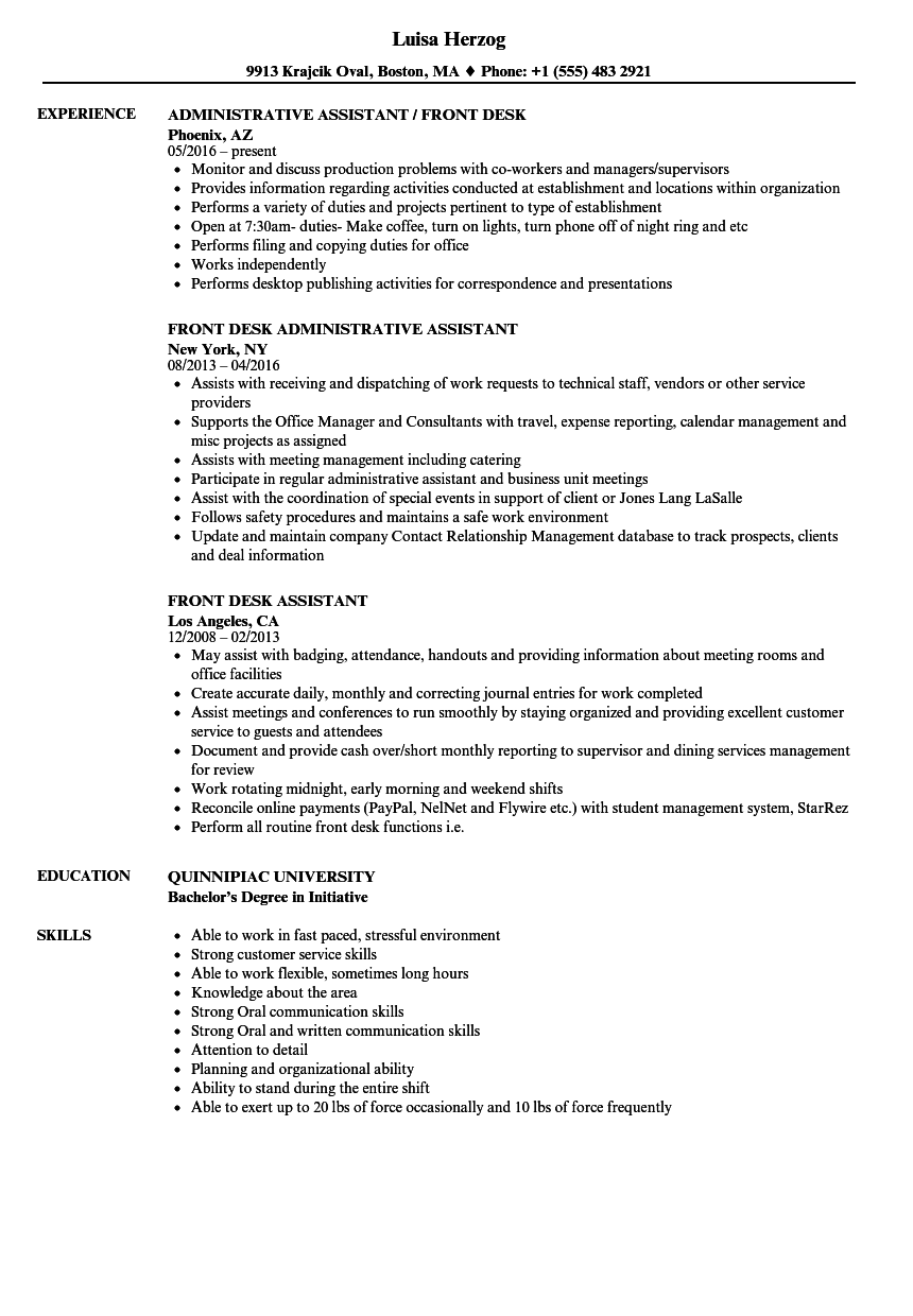 front desk assistant resume samples velvet jobs