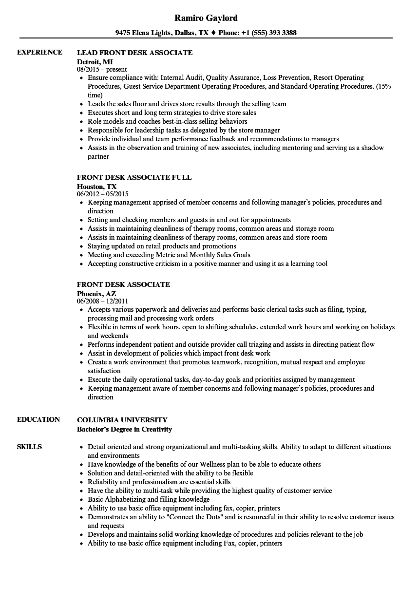 Front Desk Associate Resume Samples Velvet Jobs