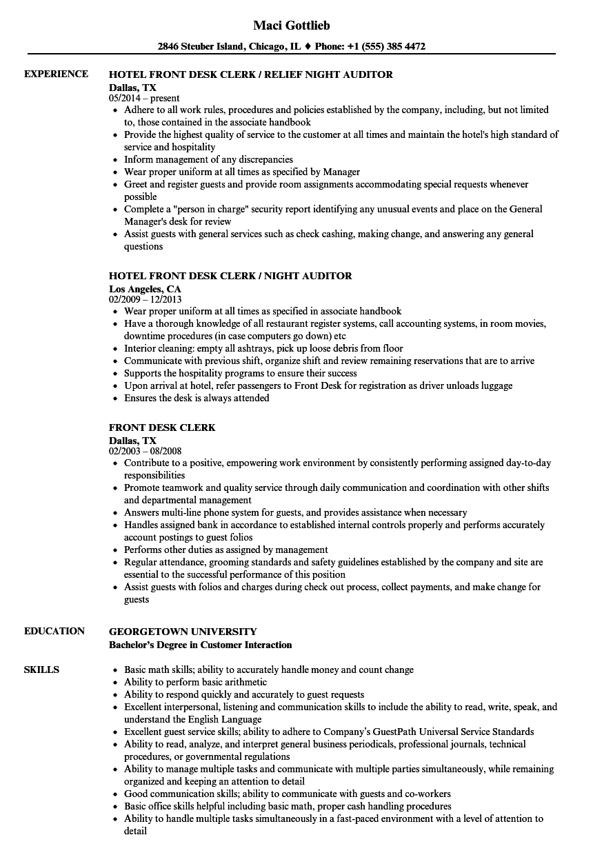 Front Desk Clerk Resume Samples Velvet Jobs