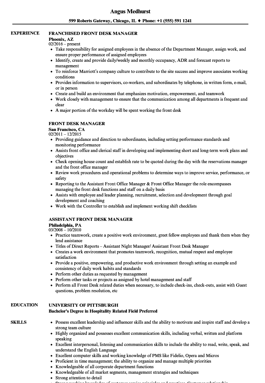 Front Desk Manager Resume Samples | Velvet Jobs