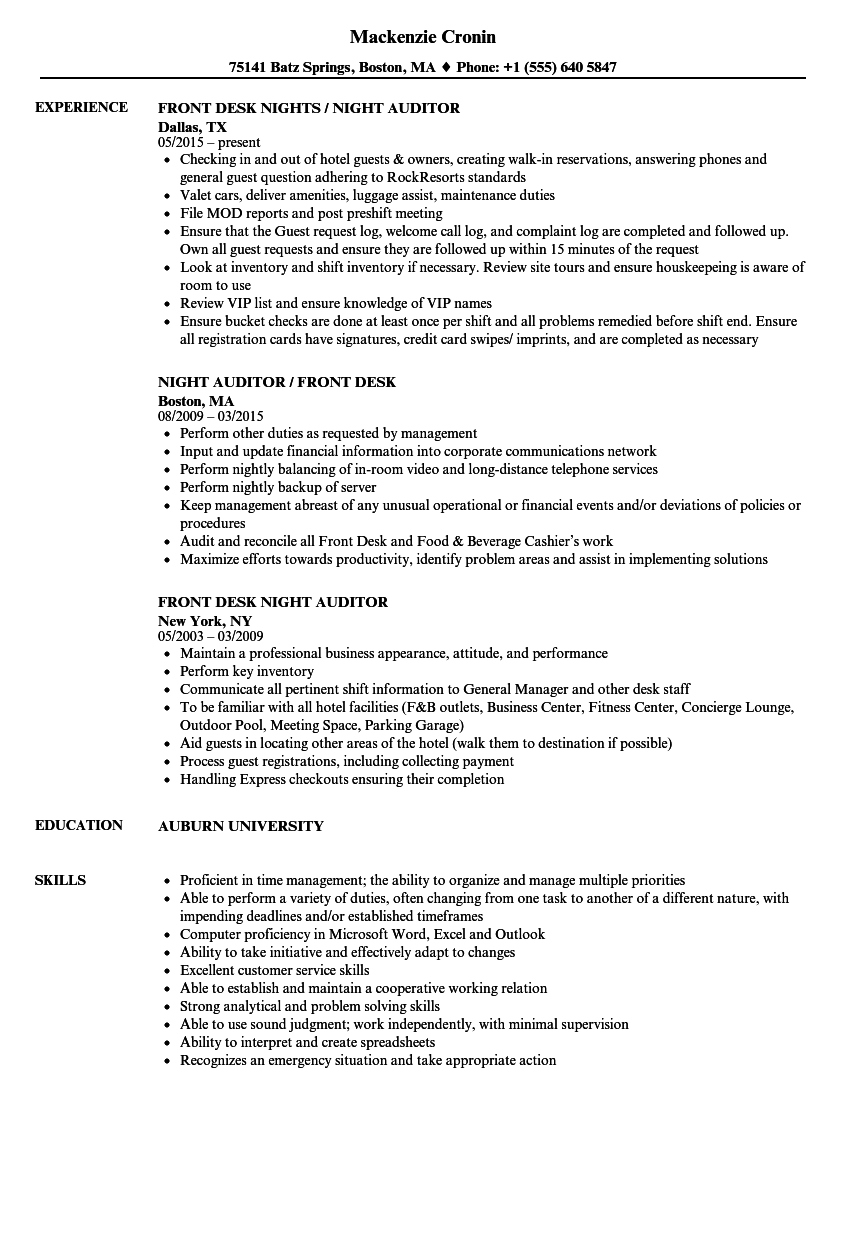 front desk night auditor resume samples