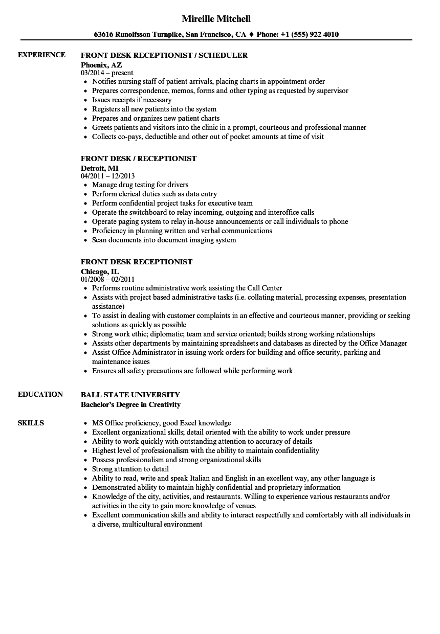 front desk receptionist resume samples velvet jobs