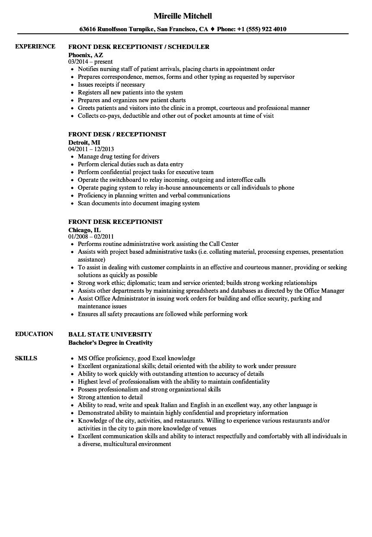 Resume For Front Desk