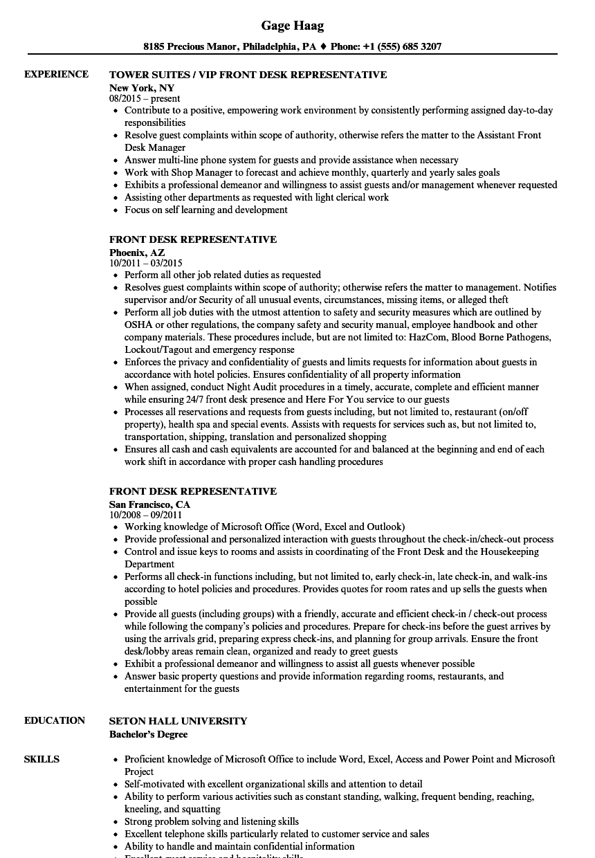 front desk representative resume samples velvet jobs