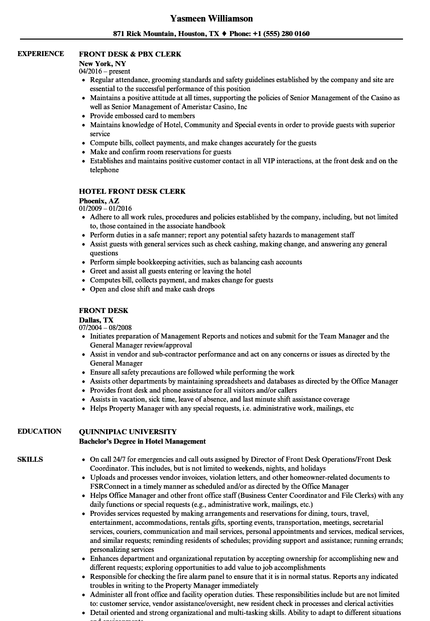front desk resume samples velvet jobs