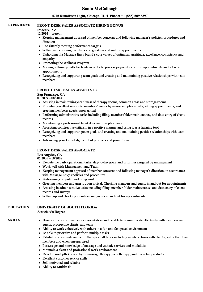 Front Desk Sales Associate Resume Samples | Velvet Jobs