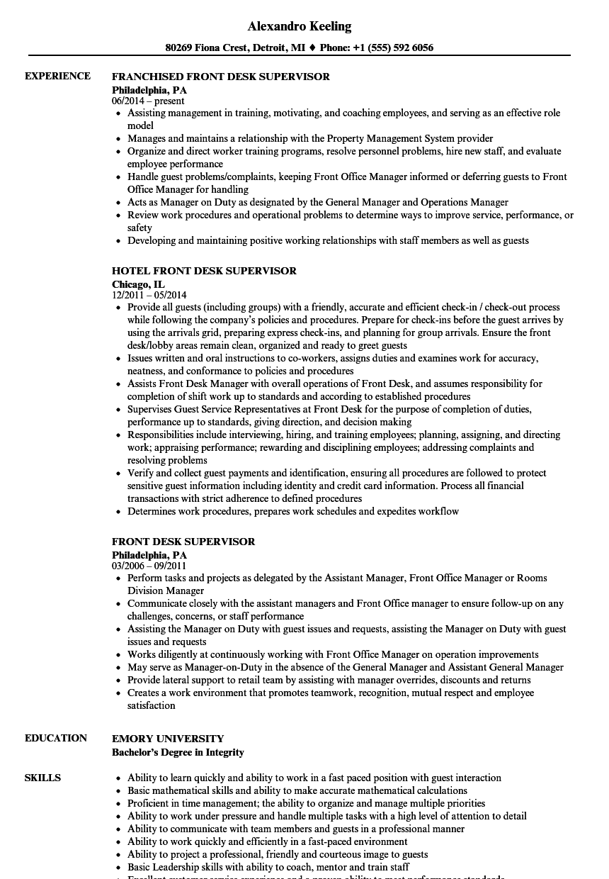 Exceptional Velvet Jobs Regard To Front Desk Supervisor Resume