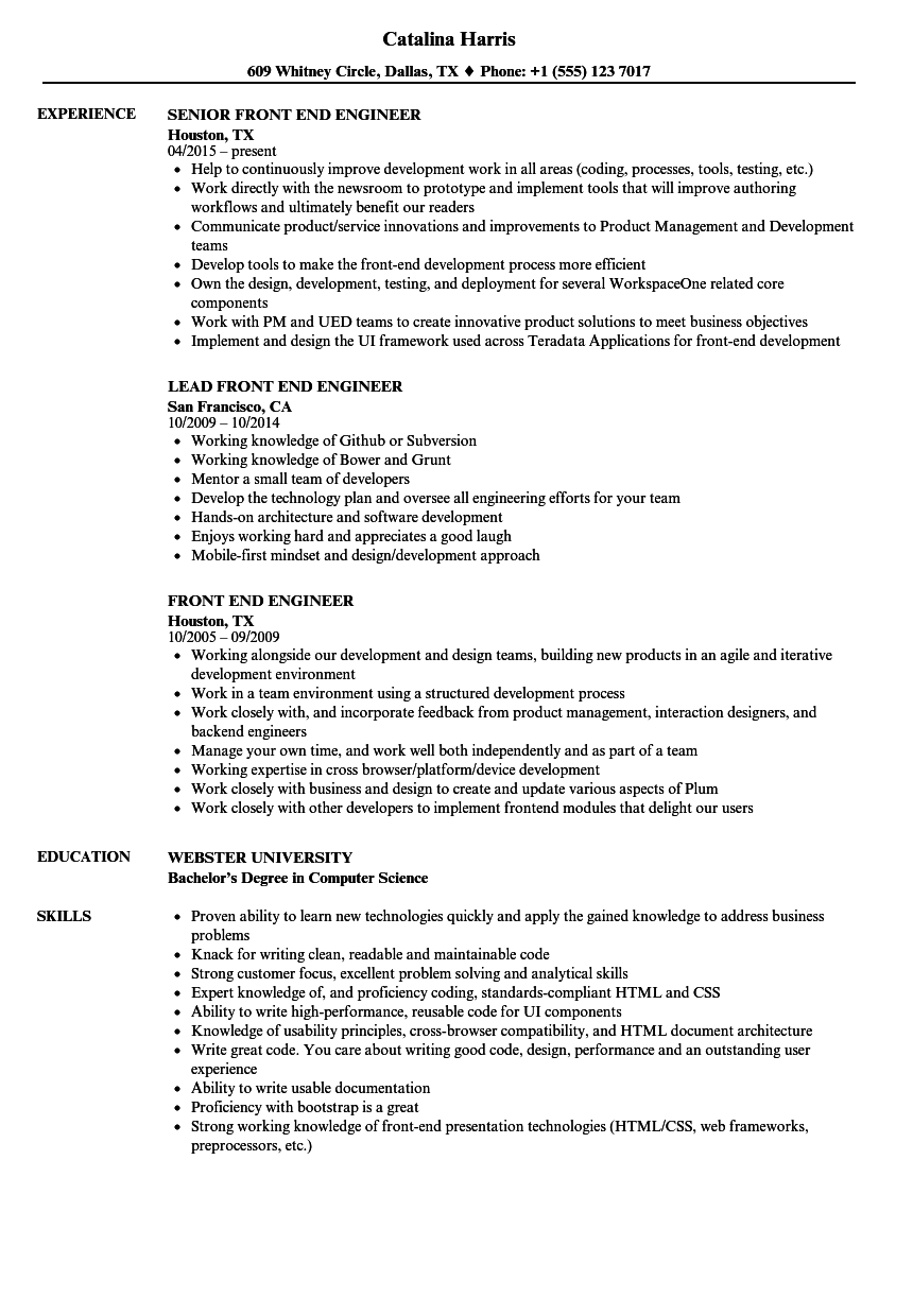 Front End Engineer Resume Samples Velvet Jobs