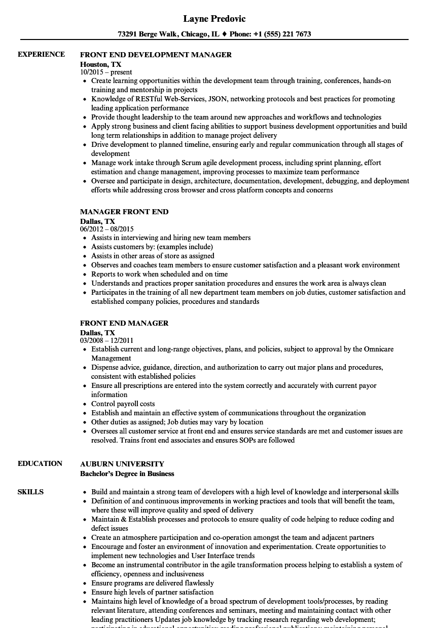 front end manager resume samples