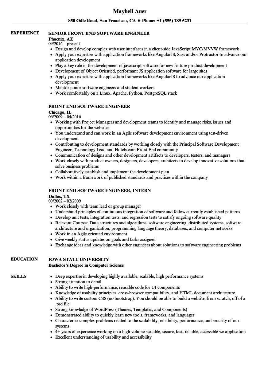 Front End Software Engineer Resume Samples | Velvet Jobs