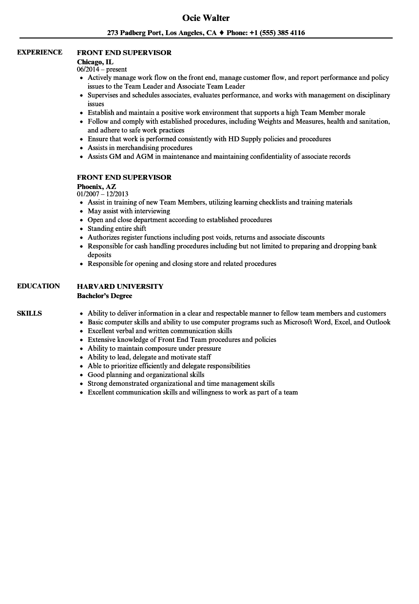 front end supervisor resume samples