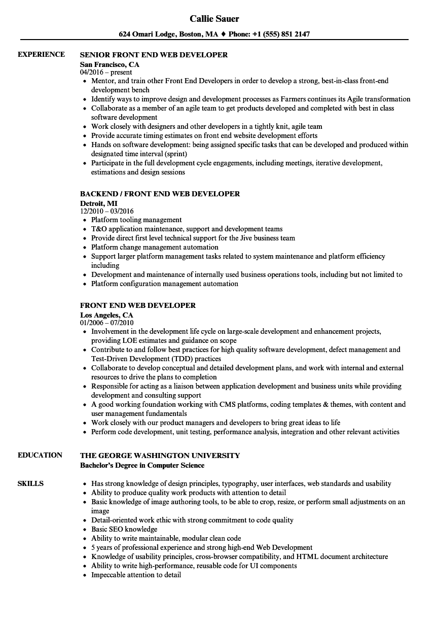 Front End Web Developer Resume Samples   Velvet Jobs