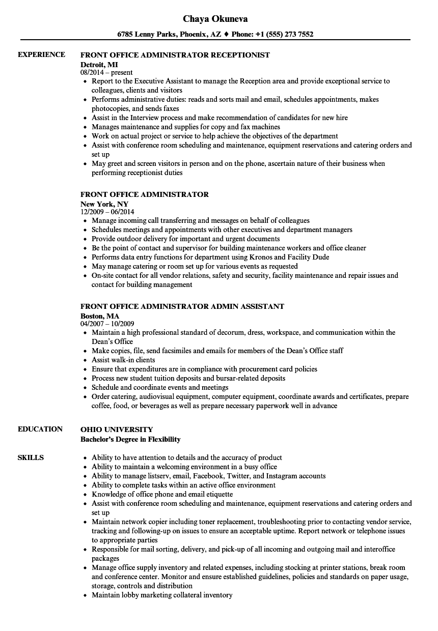 front office administrator resume samples velvet jobs
