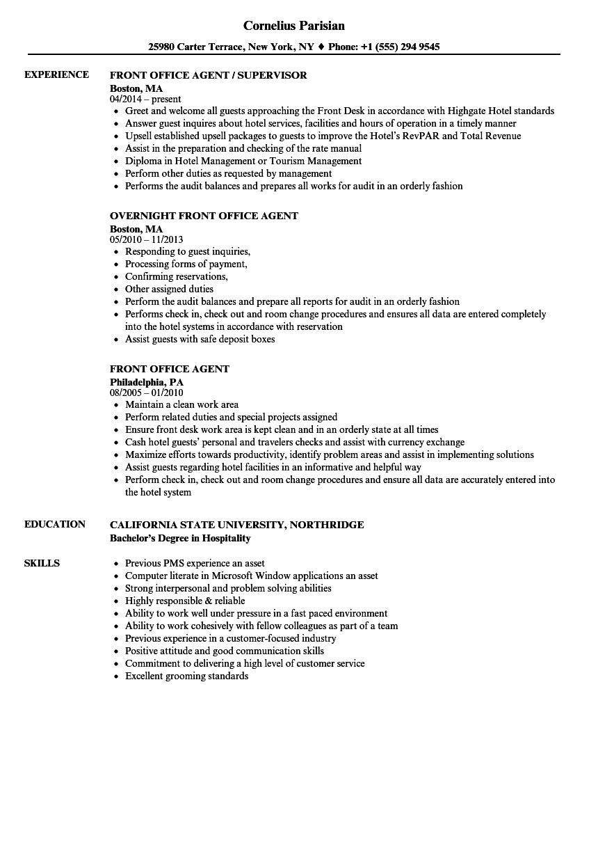 front office agent resume samples