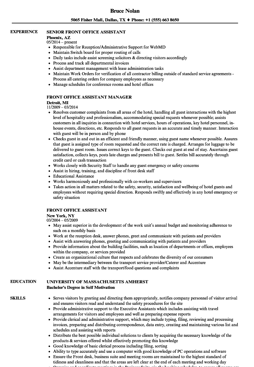 download front office assistant resume sample as image file front office assistant sample resume - Office Assistant Job Description