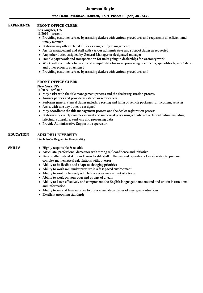 front office clerk resume samples