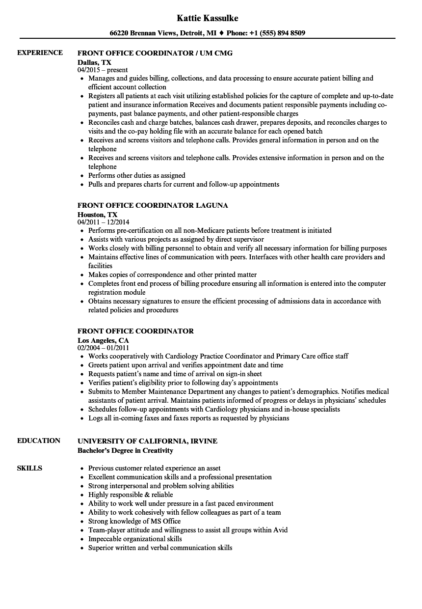 front office coordinator resume samples velvet jobs
