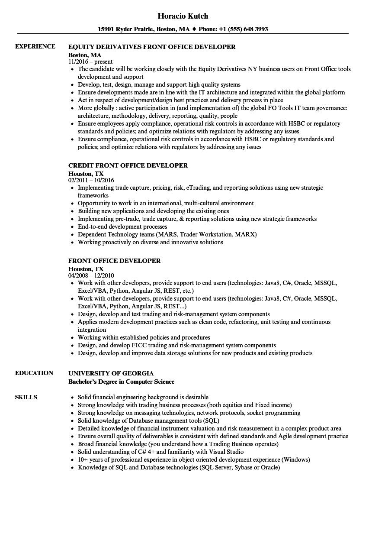 front office developer resume samples
