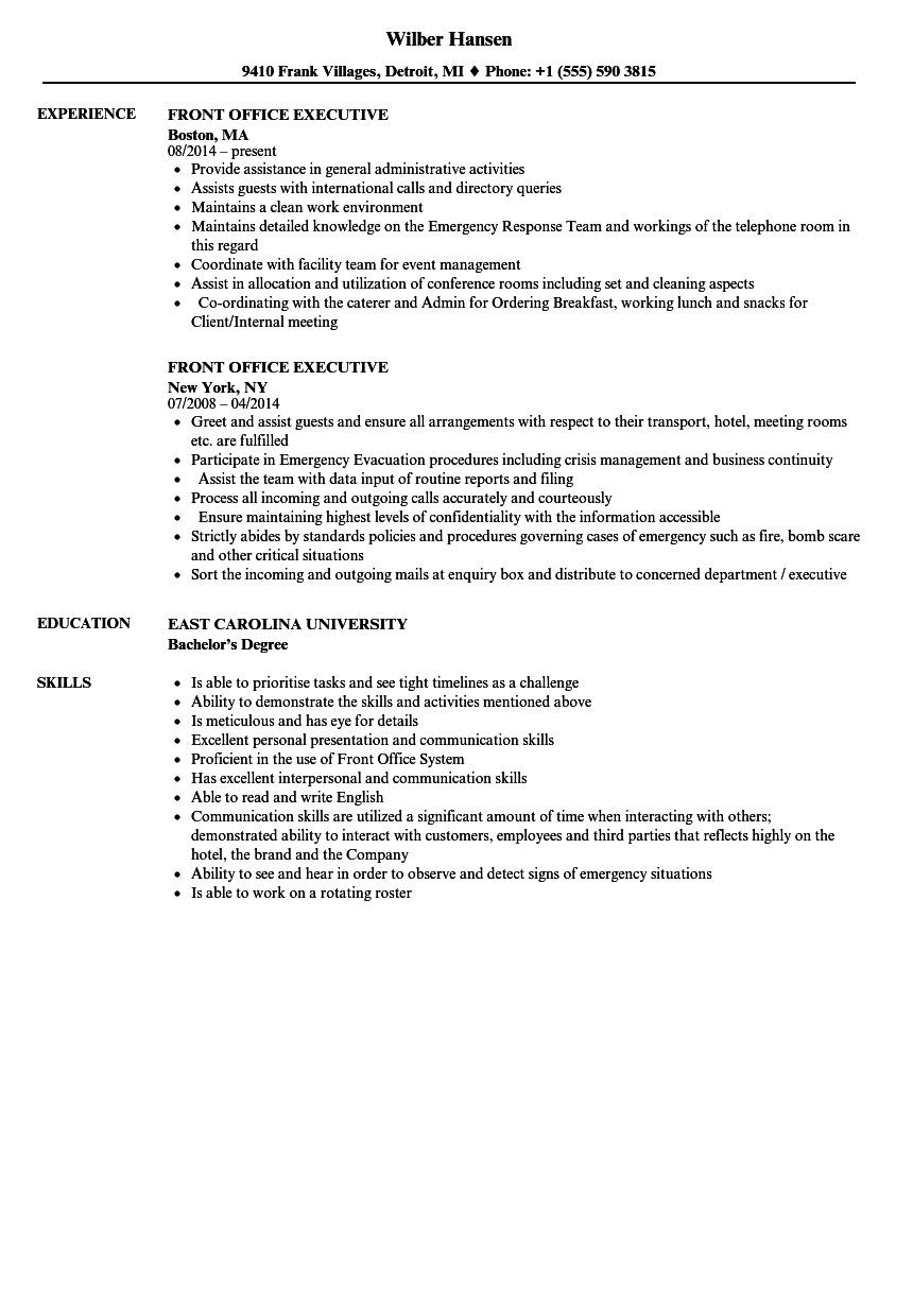 Front Office Executive Resume Samples Velvet Jobs