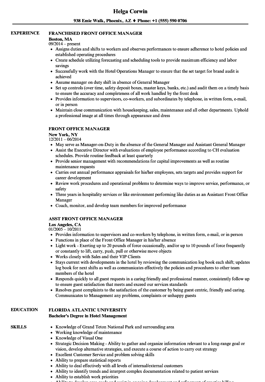 Download Front Office Manager Resume Sample As Image File