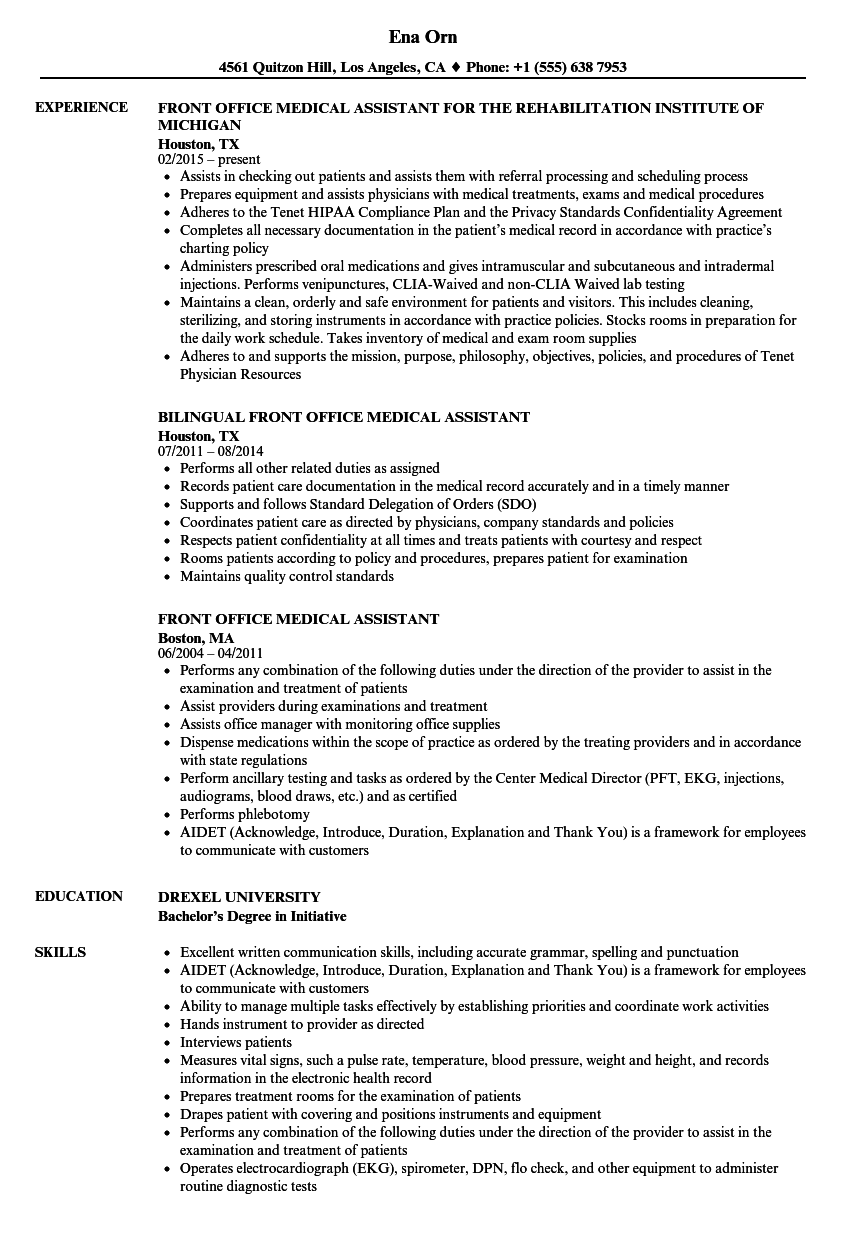 download front office medical assistant resume sample as image file - Medical Assistant Resume Skills