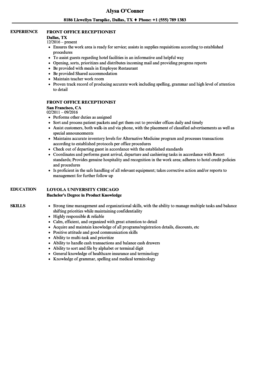 front office receptionist resume samples velvet jobs