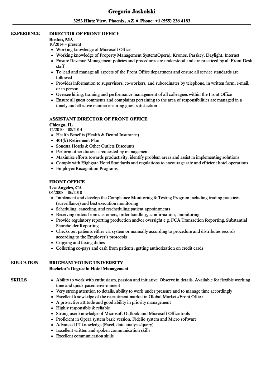 front office resume samples velvet jobs