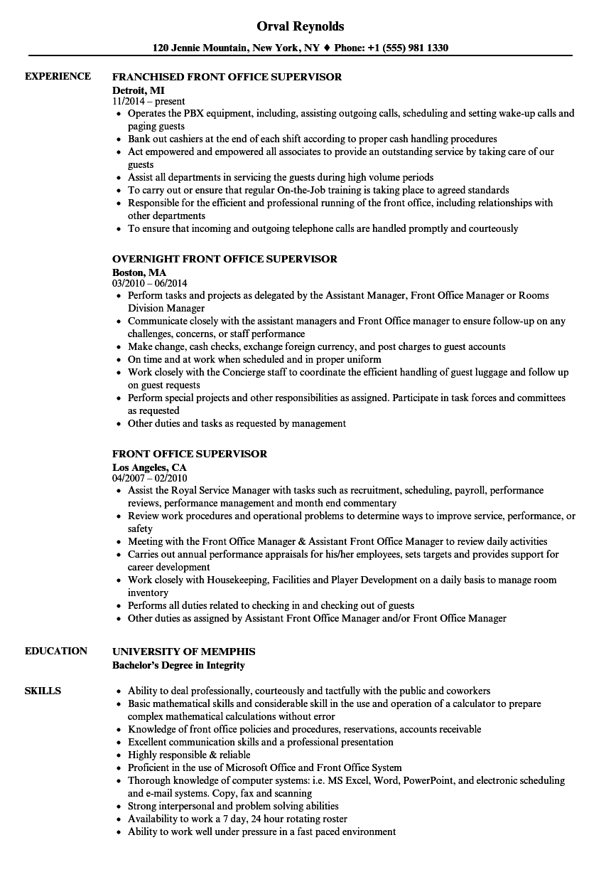 Download Front Office Supervisor Resume Sample As Image File