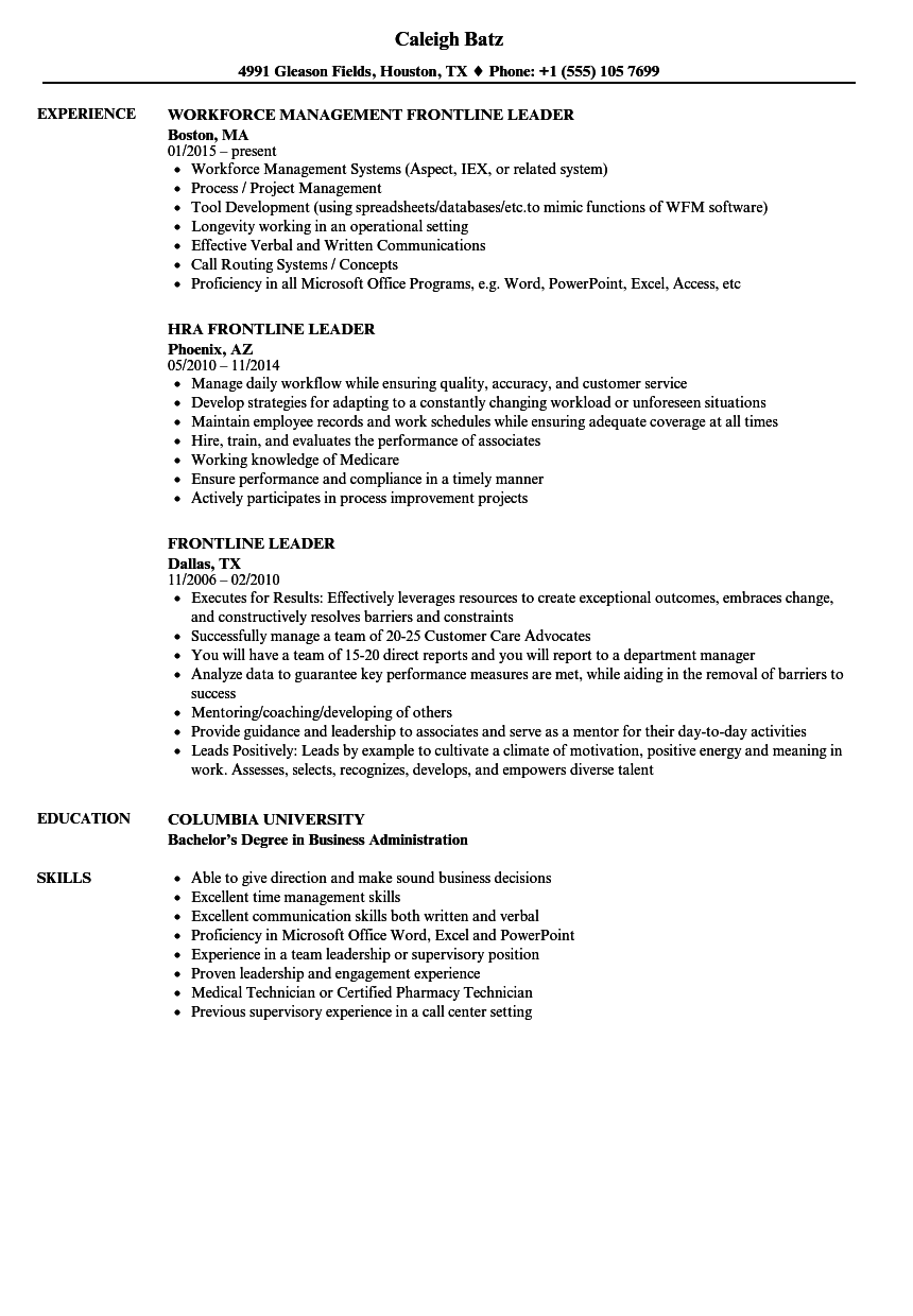 frontline leader resume samples velvet jobs