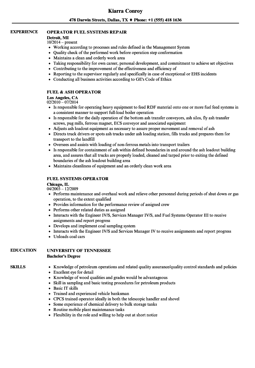 Download Fuel Operator Resume Sample As Image File