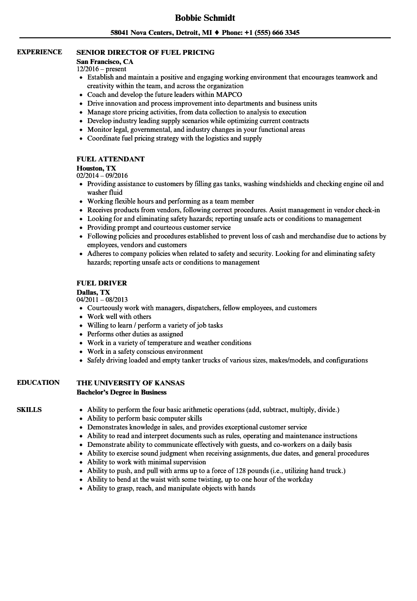 Fuel Resume Samples | Velvet Jobs
