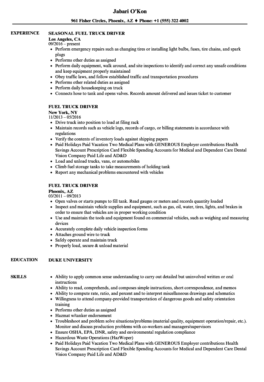 Download Fuel Truck Driver Resume Sample As Image File