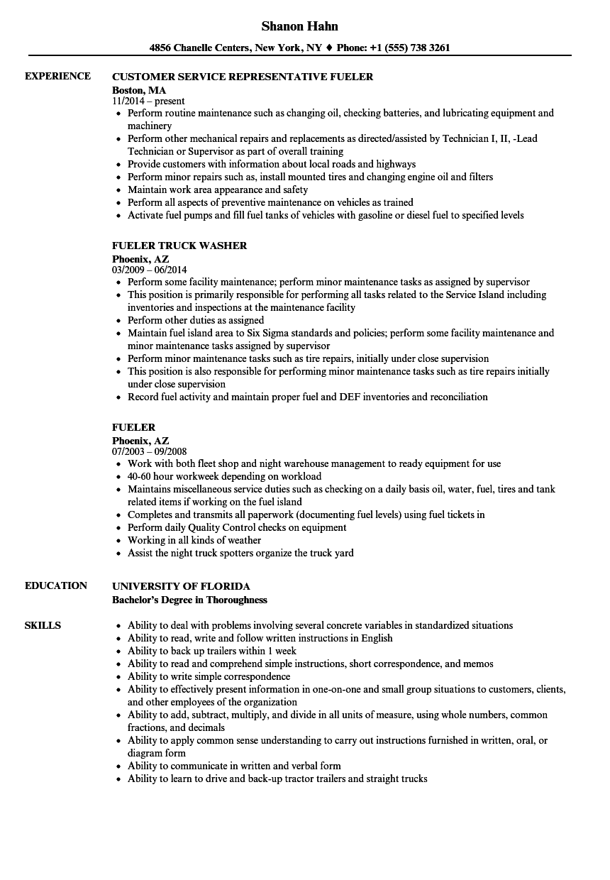 fueler resume samples