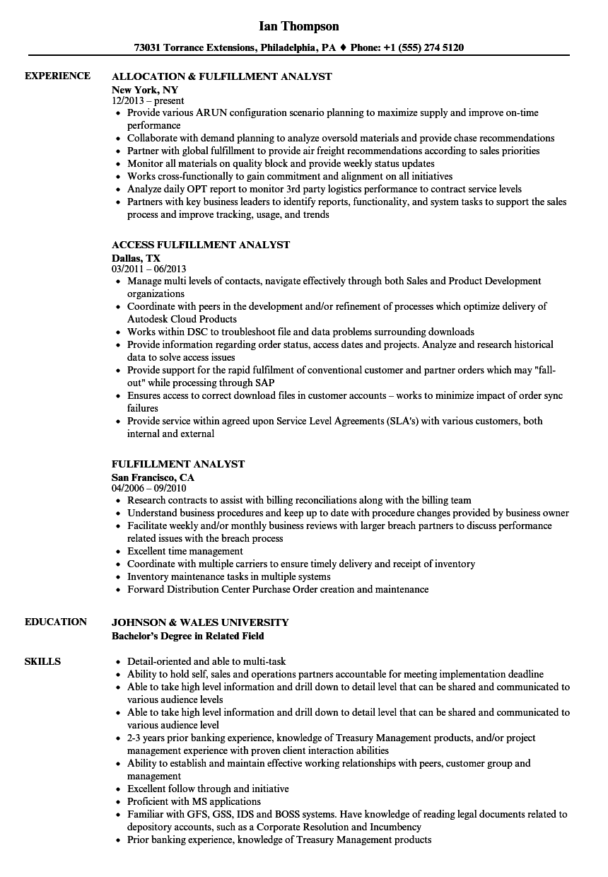 fulfillment analyst resume samples