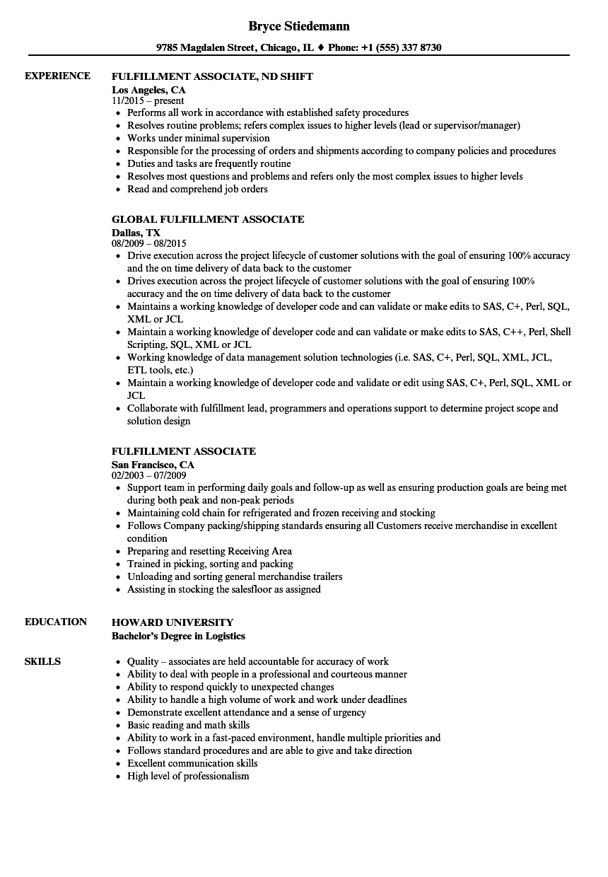 fulfillment associate resume samples velvet jobs